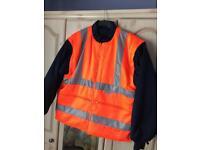 Heavy Padded 3M Scotchlite Hi-Vis Jacket - Reversible With Detachable Sleeves - (UNWORN)