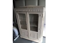 Gorgeous hand painted bookcase + glass top desk + re-upholstered chair...
