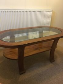 Solid wood with glass top