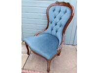 Elegant Stylish Handmade Teal Button Back Bedroom Chair