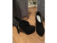 New Look Black suede studded shoes uk 4 For Sale