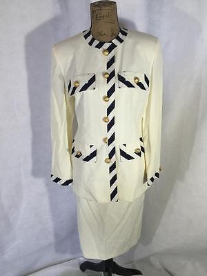 Ivana Trump Womens White And Blue Gold Button Skirt Suit Size 8