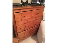 Pine chest of drawers good condition