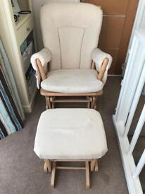 Gliding nursing chair & footstool DuTailier