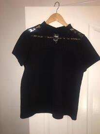Black t shirt with lace trim