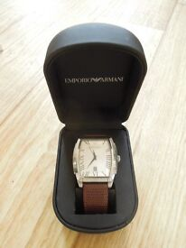 Men's Emporio Armani watch with leather strap
