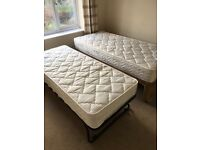 Single divan bed and combined guest bed (with mattresses)