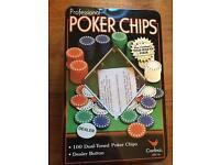 100 piece poker chip set with dealer button