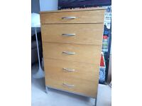Contemporary tall chest of drawers from HEALS, good condition, solid oak, excellent storage