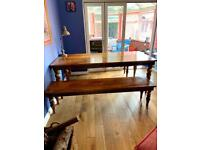 Solid mango wood dining table and two benches