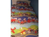 Toddler bedding. (Trains, tractors and vehicles )