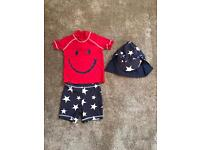 Boys Next 12-18 months swim suit and sunhat