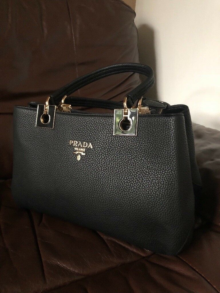 af687223fbef New PRADA handbag hand bag black leather not Chanel Gucci Louis Vuitton lv  celine Dior Micheal kors