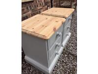 Shabby chic solid pine bedside cabinets/drawers farrow & ball