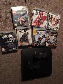 Ps3 slim black 500gb + 19 top games including GTA, Assassins Creed, COD, Etc