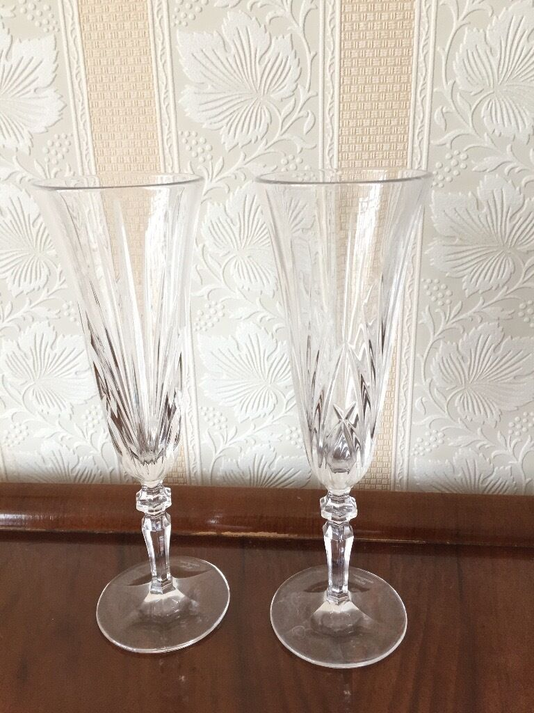 Two beautiful Crystal Champagne Flutes