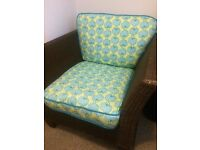 Gorgeous comfy wicker armchair with lovely upholstery