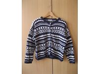 Vintage Patterned Cardigan, Size Small