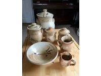 Pottery matching bread bin, bowl, jugs and canisters