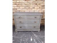 CHEST OF DRAWERS PAINTED FRENCH COUNTRY STYLE SOLID PINE GLASS HANDLES WOOD