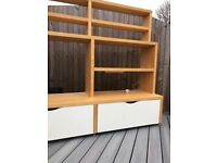 Ikea shelving unit with two large storage drawers -light 'beech' colour/white