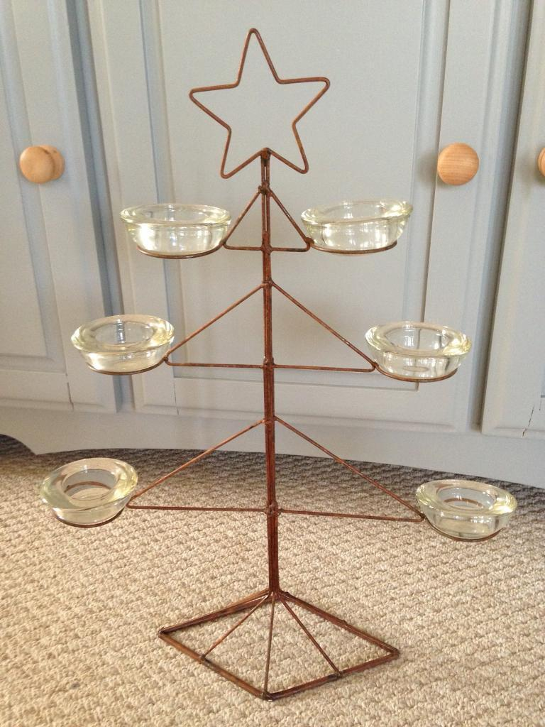Wire Christmas Tree with Candle holders