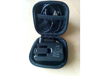 Square Hard Storage Case With Mains, Car Charger & Micro USB Cable Black