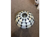 Tiffany Light Shade A1 Condition! 34cm Diameter hanging chain Colours Dark Blue/White/brown £47 ono