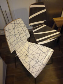 2 x IKEA Vilmar Dining Chairs Black/White Patterned