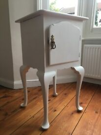 Painted Victorian Bedside Cabinet with Queen Anne Legs
