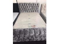 BRAND NEW EX DISPLAY! Louisa silver double bed with diamante's & storage £299