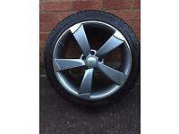 "Replica 18"" Rotor Arm Audi Alloy Wheel and Tyre - Very Good Condition"