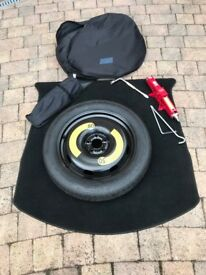 "18"" Space saver spare wheel, car jack and brace + holders"