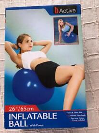 Inflatable exercise ball and pump. New