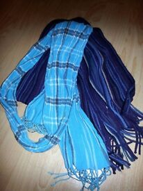 2 scarves, one blue checked, one purple striped