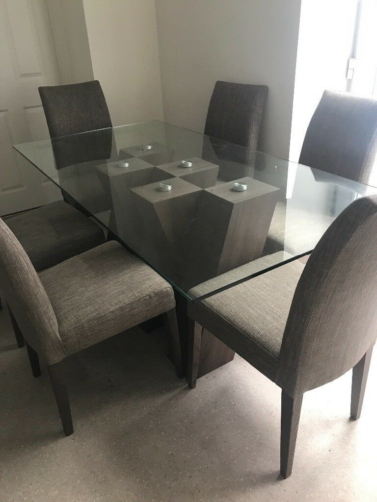 Harvey S Piston Glass Table 6 Chairs Like New