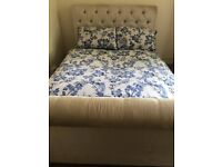 crushed velvet upholostered double bed frame with built in storage draws