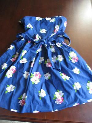 Size Large NWT Junior's ABERCROMBIE & FITCH blue floral strapless summer dress