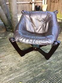 Chocolate brown leather bucket chair for sale