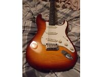 Squier by Fender Stratocaster FMT flame maple amberburst