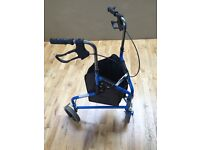 Blue three wheel mobility trolley in good condition