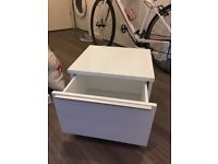 PICK UP TODAY: White drawer chest, bed side table (excellent condition)