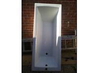 1700mm x 700mm Straight Bath Modern Bathroom Single Ended Acrylic White Bathtub