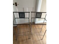 Chrome frame double bed and mattress matching glass and chrome bedside tables