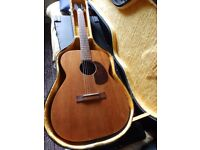Harmony H-165 USA built acoustic guitar and hard case.