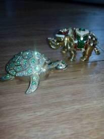 Set of seven small trinket ornaments