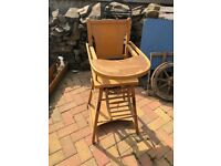 vintage dual high chair and table