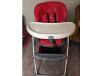 Chicco high chair in red