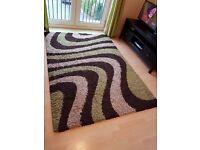 Beautiful Lounge Carpet/Rug in Chocolate & Green (160 cm x 230 cm)