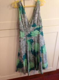 Monsoon cotton green, white and grey floral V neck summer dress Size 12